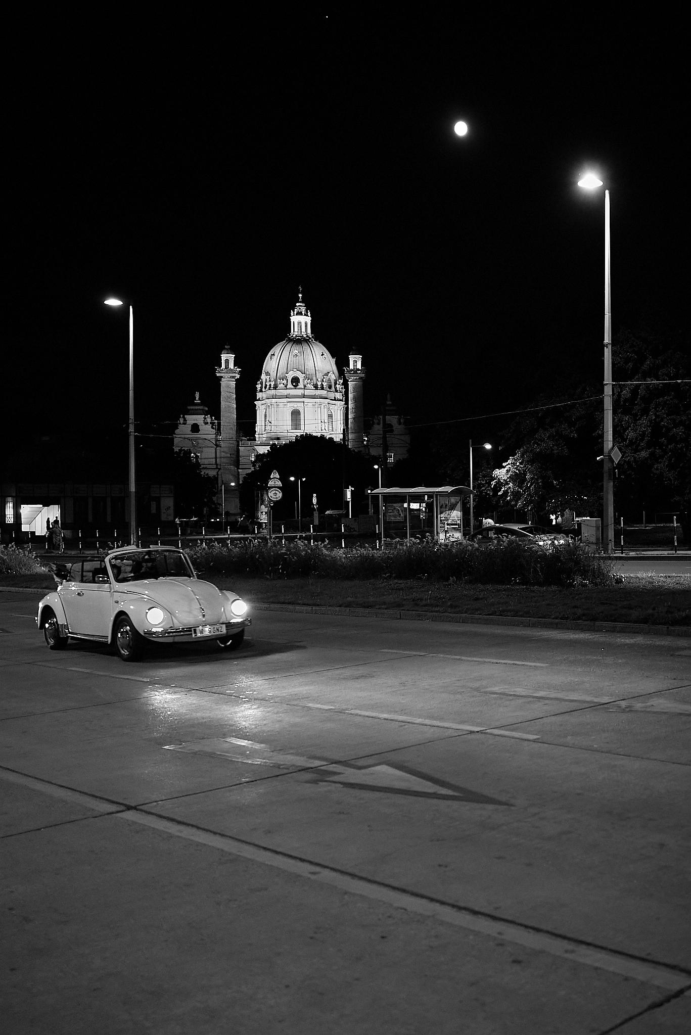 VW Beetle, Karlskirche, Full Moon, and Jupiter